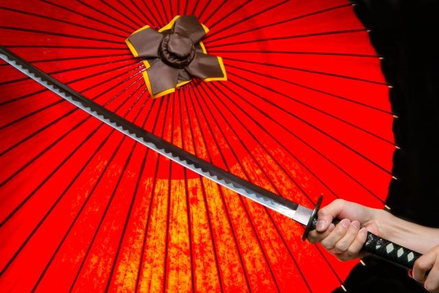 紅い番傘と剣