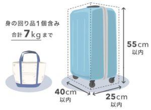 vanillaairの機内持ち込み手荷物のサイズ